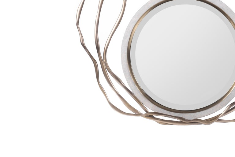 French Dargelos Mirror in Cream Shagreen and Bronze-Patina Brass by Kifu Paris For Sale