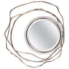 Dargelos Mirror in Cream Shagreen and Bronze-Patina Brass by Kifu Paris