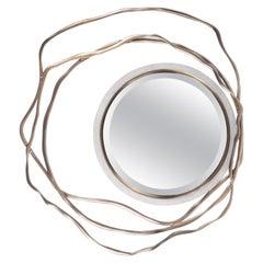 Dargelos Mirror in Cream Shagreen and Bronze-Patina Brass by Kifu Paris