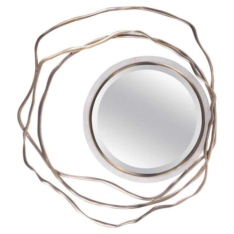 Dargelos Mirror in Cream Shagreen and Bronze-Patina Brass by Kifu Paris For Sale