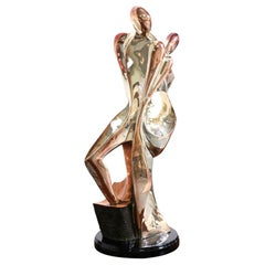 D'Argenta Gold Plated Abstract Couple Sculpture by Tere Memun