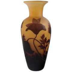 D'argental, France, Art Nouveau Vase in Cameo Art Glass with Flowers