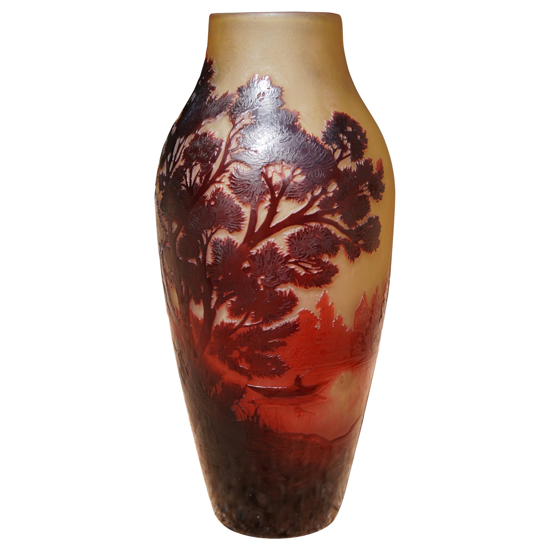 D'Argental Paul Nicolas Art Nouveau Cameo Scenic Art Glass Vase, 1910