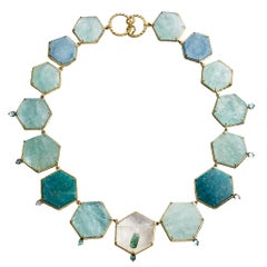 Daria de Koning Aquamarine, Amazonite, Tourmaline Hexagonal Necklace
