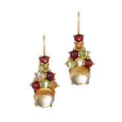 Daria de Koning Cabochon Cut Citrine and Multi Gem Drop Cluster Earrings