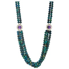 Daria de Koning Long Amethyst Cabochon, Azure-Malachite Bead Necklace