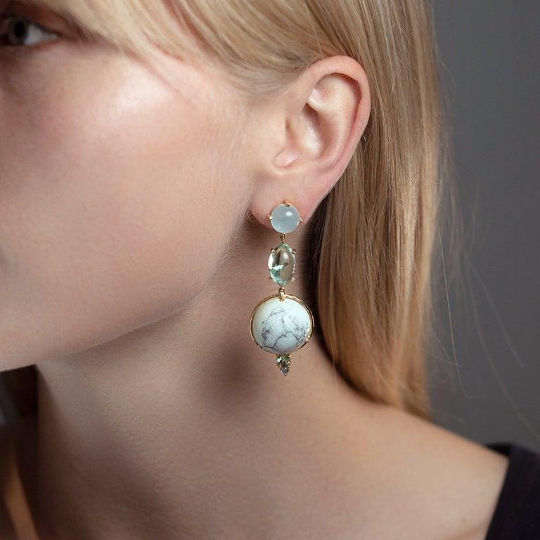 Artisan Daria de Koning Muzo Emerald, Aquamarine, White Howlite, Tourmaline Earrings For Sale