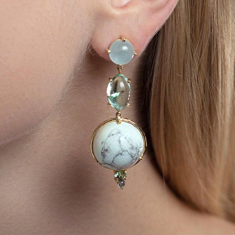 Round Cut Daria de Koning Muzo Emerald, Aquamarine, White Howlite, Tourmaline Earrings For Sale
