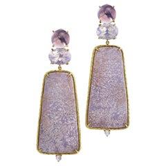 Daria de Koning Pale Amethyst, Opalescent Quartz and Purple Jasper Earrings
