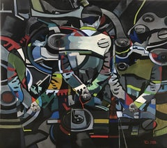 Negation (clockwork) - abstract painting, made in black, grey, green, red, blue