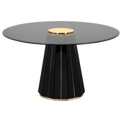 Darian Dining Table in Black Lacquer and Smoked Glass Top