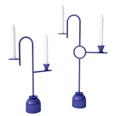 Dariel Studio High Blue Candleholders in Laminated Metal for Cappellini