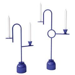 Dariel Studio Low Blue Candleholders in Laminated Metal for Cappellini