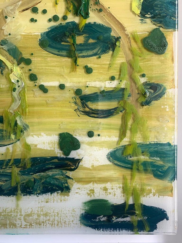 Edge of Pond - Beige Abstract Painting by Darius Yektai