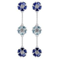 Dark and Light Blue Blossom Gentile Chandelier Earrings
