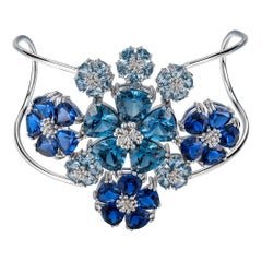 Dark and Light Blue Sapphire and Aquamarine Blossom Renaissance Cuff