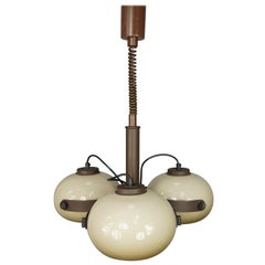 Dark And Light Brown Chandelier, 1960s, Dutch Design by Dijkstra Lampen