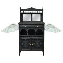 Dark Angel Cellarette Cabinet in Black with Wing Detail by Scarlet Splendour
