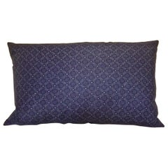 Dark Blue and White Cotton Print Pillow French 1900s