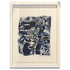 Dark Blue and White Print by American Artist Sandra Constantine, Contemporary