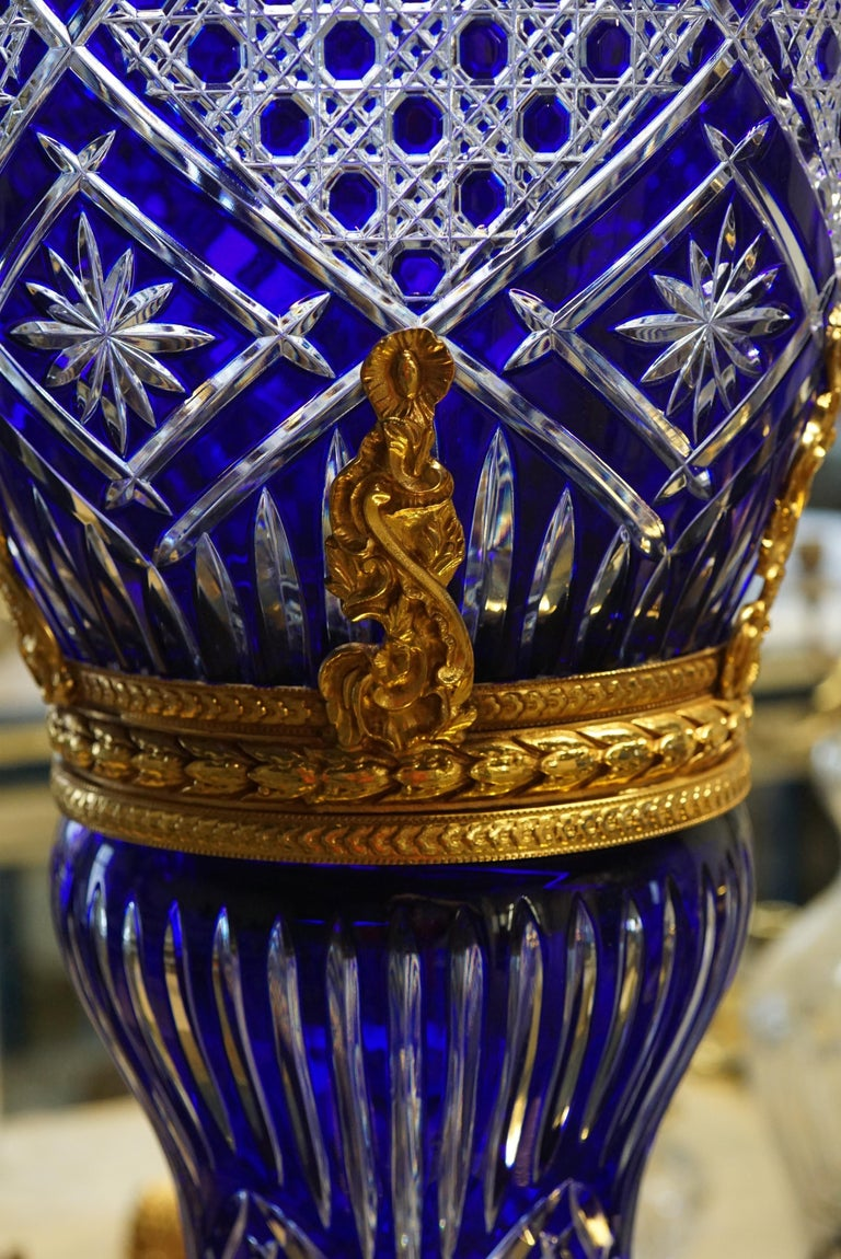 French Dark Blue Crystal Vase with Covered Gold Bronze For Sale