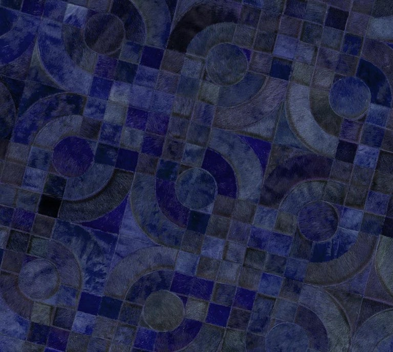 Dark Blue Customizable Optico Midnight Blue Cowhide Area Floor Rug Large In New Condition For Sale In Charlotte, NC