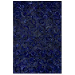 Dark Blue Customizable Optico Midnight Blue Cowhide Area Floor Rug Large