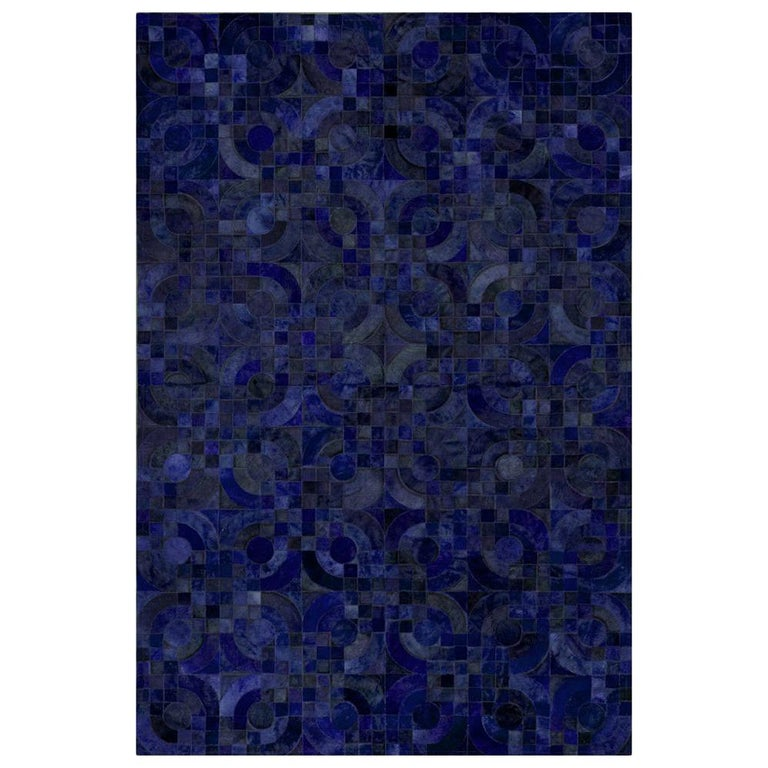 Dark Blue Customizable Optico Midnight Blue Cowhide Area Floor Rug Large For Sale