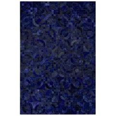Dark Blue Customizable Optico Midnight Blue Cowhide Area Floor Rug X-Large