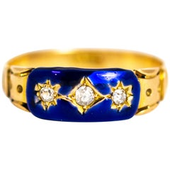 Dark Blue Enamel and Diamond 18 Carat Gold Ring