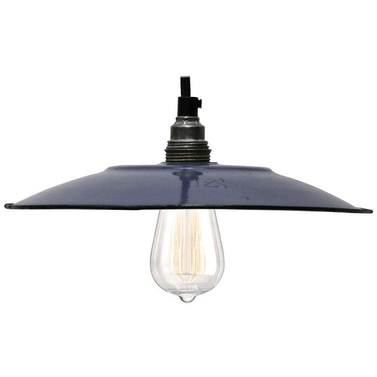 Dark Blue Enamel French Vintage Industrial Pendant Lights For Sale