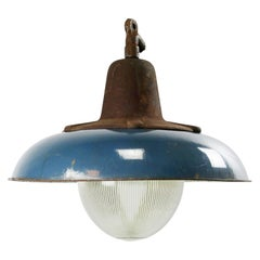 Dark Blue Enamel Vintage Industrial Cast Iron Holophane Glass Pendant Lamp