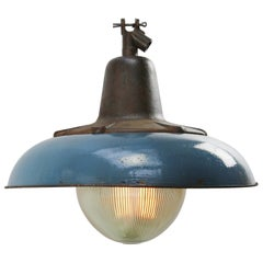 Dark Blue Enamel Vintage Industrial Cast Iron Holophane Glass Pendant Lamp