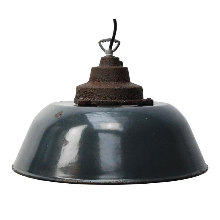 20th Century Dark Blue Enamel Vintage Industrial Cast Iron Top Factory Pendant Light For Sale
