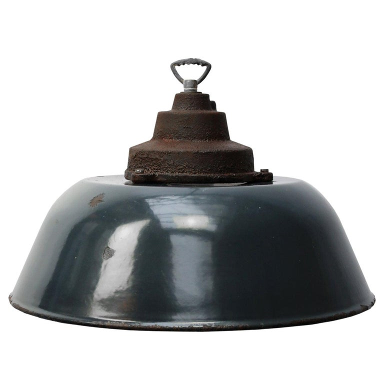 Dark Blue Enamel Vintage Industrial Cast Iron Top Factory Pendant Light For Sale