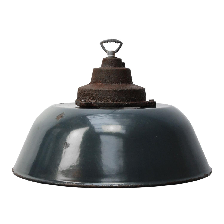 Dark Blue Enamel Vintage Industrial Cast Iron Top Factory Pendant Lights