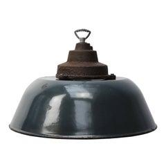 Dark Blue Enamel Vintage Industrial Cast Iron Top Factory Pendant Lights (7x)