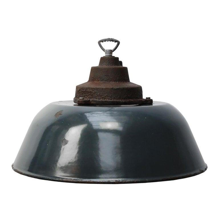 Dark Blue Enamel Vintage Cast Iron Top Factory Pendant Lights 7x For
