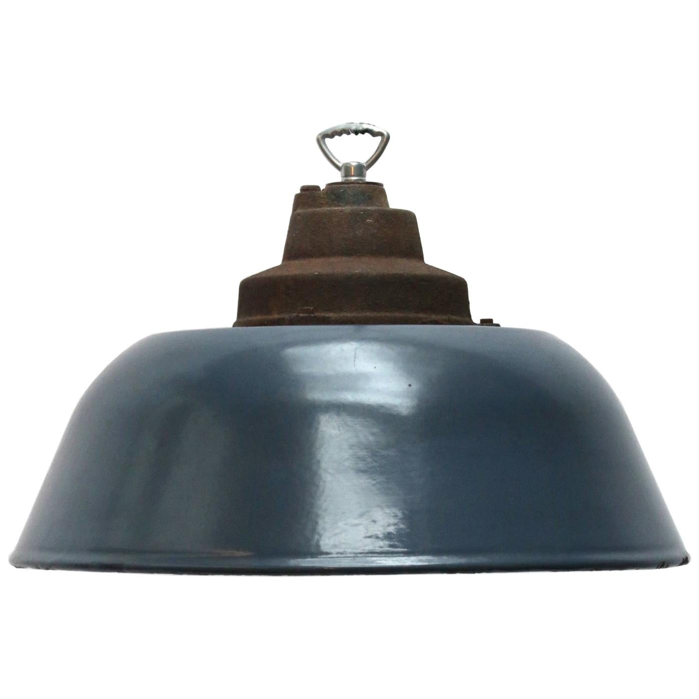 Dark Blue Enamel Vintage Industrial Factory Pendant Light