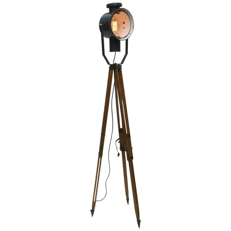 Dark Blue Enamel Vintage Industrial Wooden Tripod Spot Light Floor Lamp For Sale