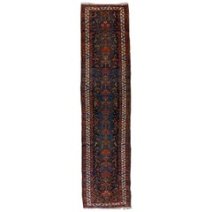 Dark Blue Field Antique Heriz Runner