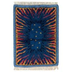 Dark Blue Field Vintage Rya Wool Swedish Rug, 1950-1970