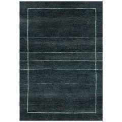 Dark Blue Handmade Wool and Silk Rug from Scandinavian Collection by Gordian