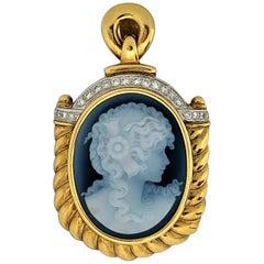 Dark Blue Hard Stone Cameo Enhancer Pendant in Gold with Diamonds