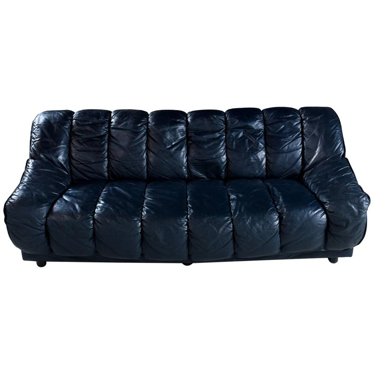 Dark Blue Italian Leather Sofa in the Manner of De Sede For Sale