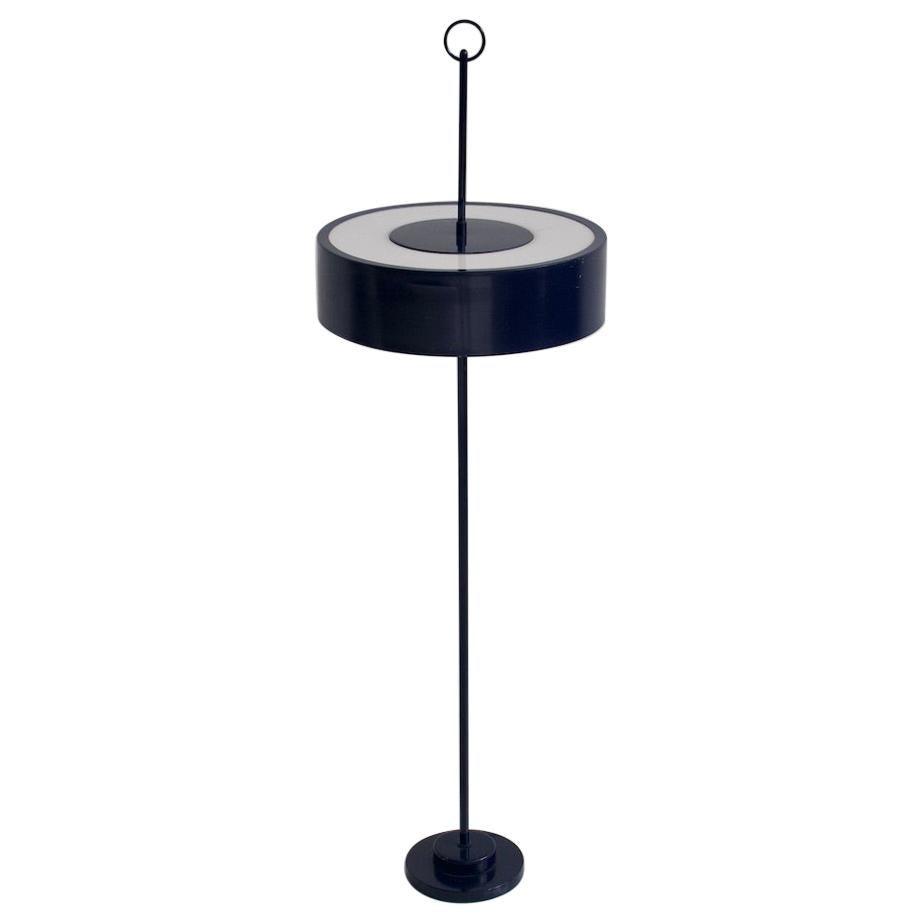 Dark Blue Lacquered Metal Floor Lamp