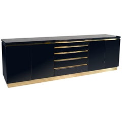 Dark Blue Lacquered Sideboard by Jean Claude Mahey, France, 1970s