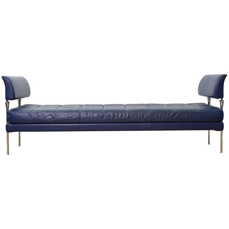 Magnificent Dark Blue Leather Chromed Steel Bench Daybed Hydra Model Poltrona Frau 1990S Uwap Interior Chair Design Uwaporg