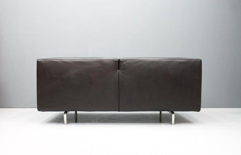 Italian Dark Blue Leather Sofa 250 MET by Piero Lissoni for Cassina 1988 For Sale