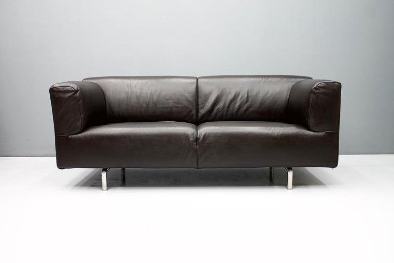 Dark Blue Leather Sofa 250 MET by Piero Lissoni for Cassina 1988 In Good Condition For Sale In Frankfurt / Dreieich, DE